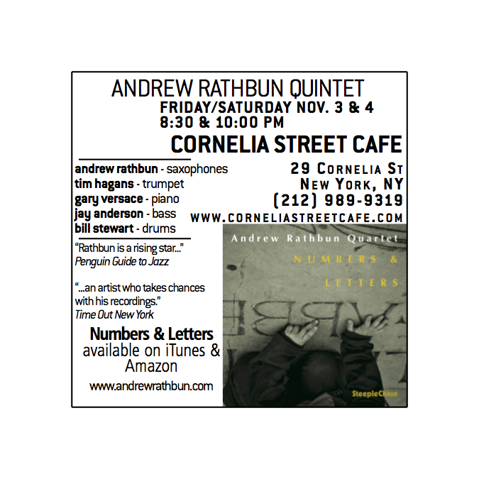 Fri/Sat Nov. 3/4 Cornelia Street Cafe