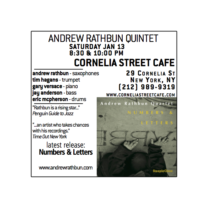 Andrew Rathbun Quintet Sat Jan 13th Cornelia Street Cafe